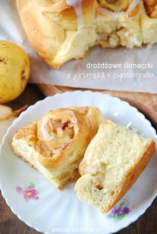 Drożdżowe ślimaczki z gruszką i cynamonem2