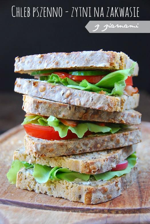 Chleb pszenno - zytni na zakwasie z ziarnami2